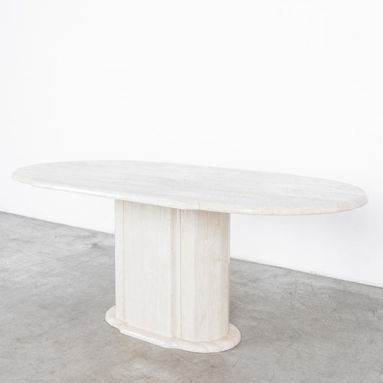 1960s Italian Travertine Pedestal Dining Table In Good Condition For Sale In High Point, NC