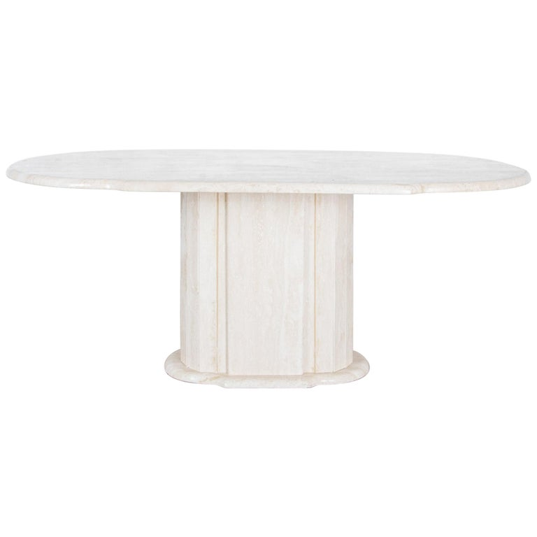 1960s Italian Travertine Pedestal Dining Table For Sale
