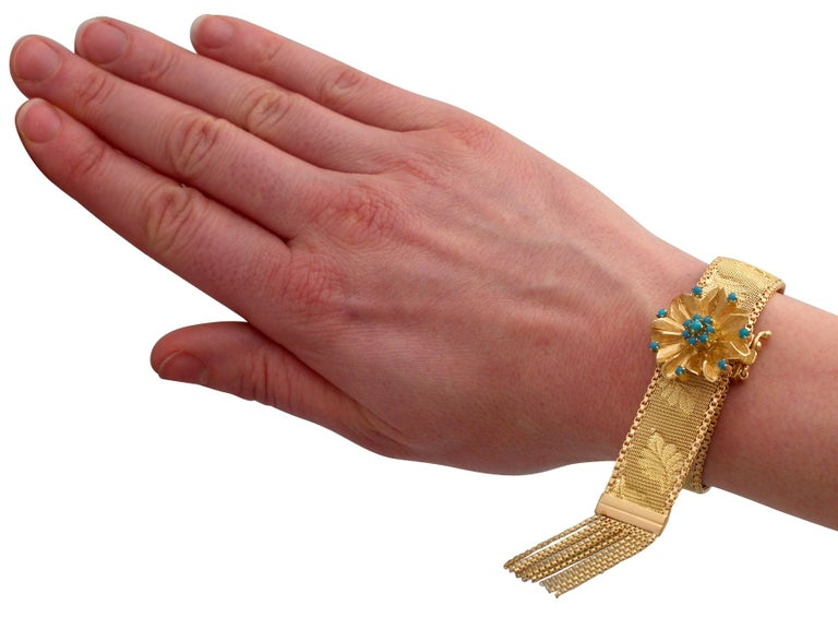 1960s Italian Turquoise and Gold Bracelet For Sale 8