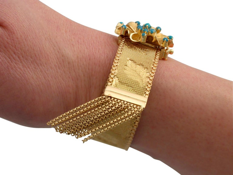 1960s Italian Turquoise and Gold Bracelet For Sale 9