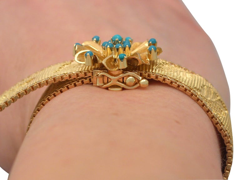 1960s Italian Turquoise and Gold Bracelet For Sale 10
