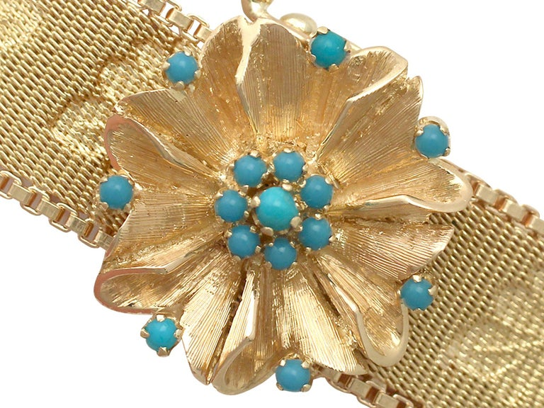 1960s Italian Turquoise and Gold Bracelet In Excellent Condition For Sale In Jesmond, Newcastle Upon Tyne