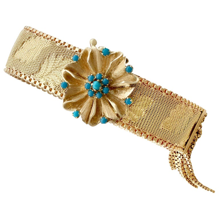 1960s Italian Turquoise and Gold Bracelet For Sale