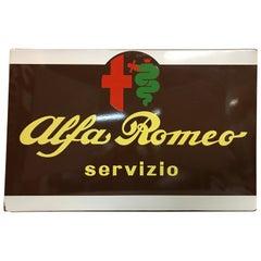 1960s Italian Vintage Metal Enamel Alfa Romeo Servizio Advertising Sign