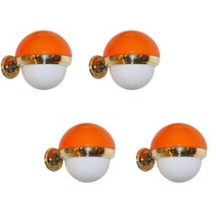 1960s Italian Vintage White Orange Murano Glass & Brass Double-Lit Sconce