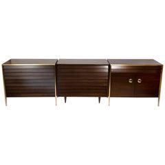 1960s Italian Walnut & Architectural Bronze Bedroom Cabinets & Nightstands