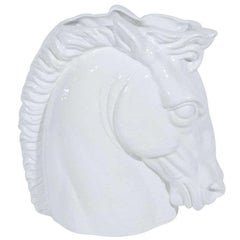 1960s Italian White Ceramic Horse Sculpture and Vase