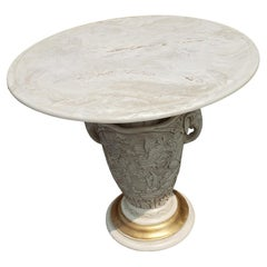 1960s Italian White Onyx Stone Top Pedestal Accent Table