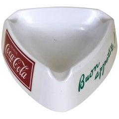 1960s Italian White Plastic Buon Appetito! 'Enjoy Your Meal!' Coca-Cola Ashtray