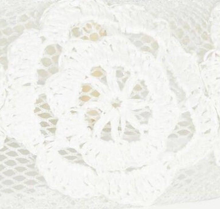 Gray 1960s Italian White Raffia Bridal Cap With Floral Design For Sale