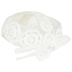 1960s Italian White Raffia Bridal Cap With Floral Design