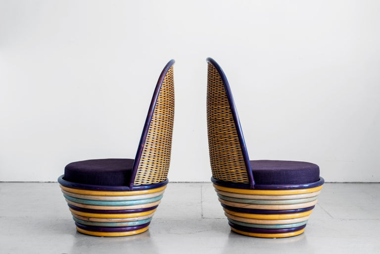1960s Italian Wicker Lounge Chairs In Good Condition For Sale In Los Angeles, CA