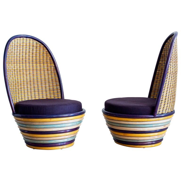 1960s Italian Wicker Lounge Chairs For Sale