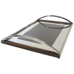 1960s Italian Wood, Chrome and Mirror Tray