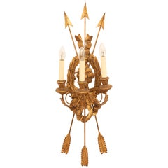 1960s Italian Wooden Gilded Three-Light Wall Sconce in the Style of Louis Seize