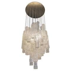 1960s Italian Zero Quattro Milano Glass Chandelier
