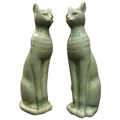 1960s Italy Couple of Cats Sculptures in Celadon Color Ceramic