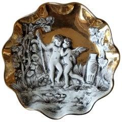 1960s Italy Modern Hollywood Regency Italian Gold Renaissance Cherub Ashtray 2