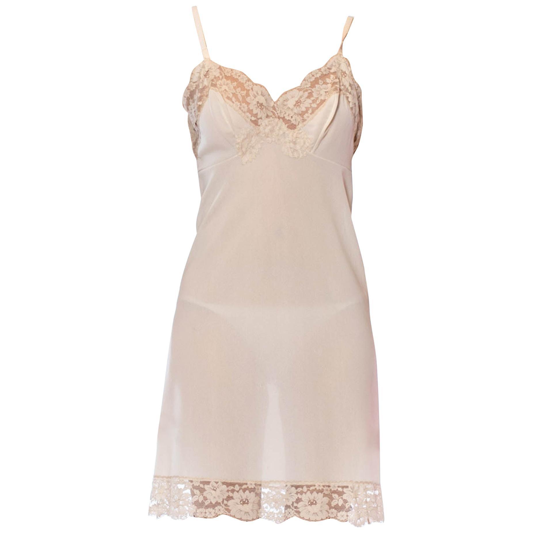 1960'S Ivory Nylon White Cream Slip Dress
