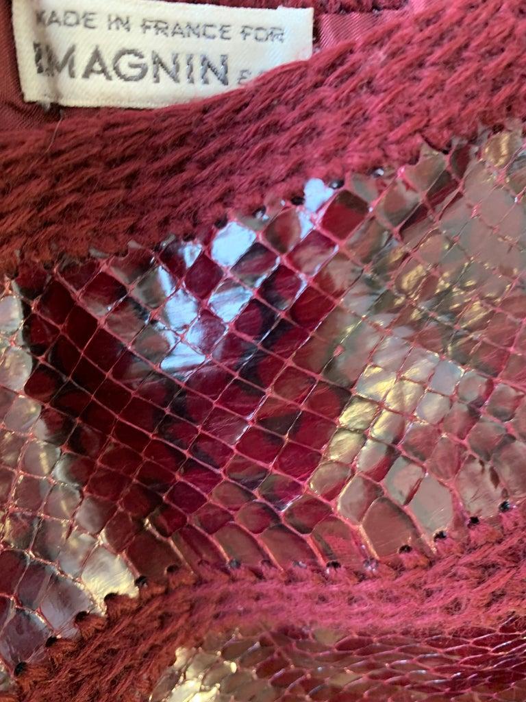1960s J. Tiktinr 2-Piece Knit Turtleneck Sweater & Snakeskin Skirt In Cranberry  For Sale 11