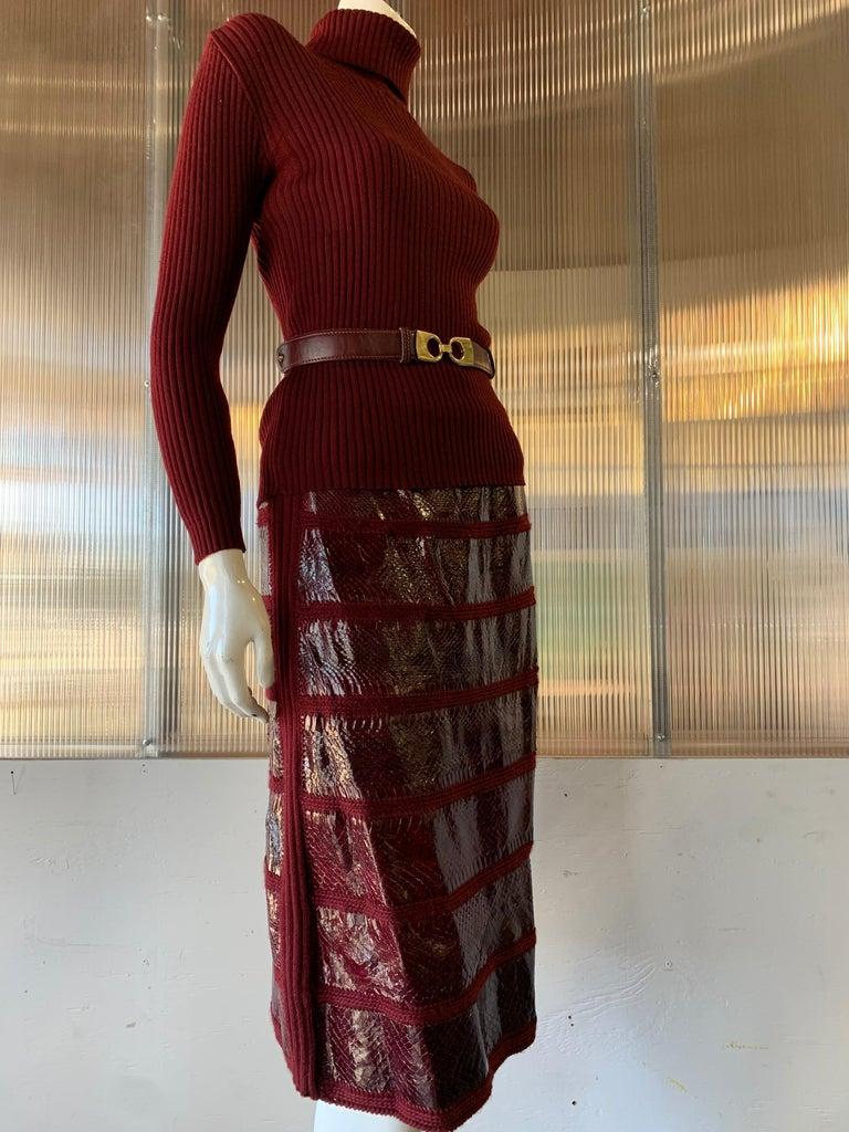 Black 1960s J. Tiktinr 2-Piece Knit Turtleneck Sweater & Snakeskin Skirt In Cranberry  For Sale