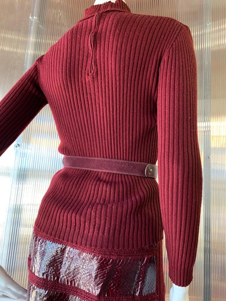 Women's 1960s J. Tiktinr 2-Piece Knit Turtleneck Sweater & Snakeskin Skirt In Cranberry  For Sale