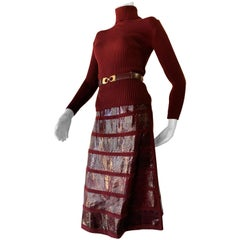 1960s J. Tiktinr 2-Piece Knit Turtleneck Sweater & Snakeskin Skirt In Cranberry