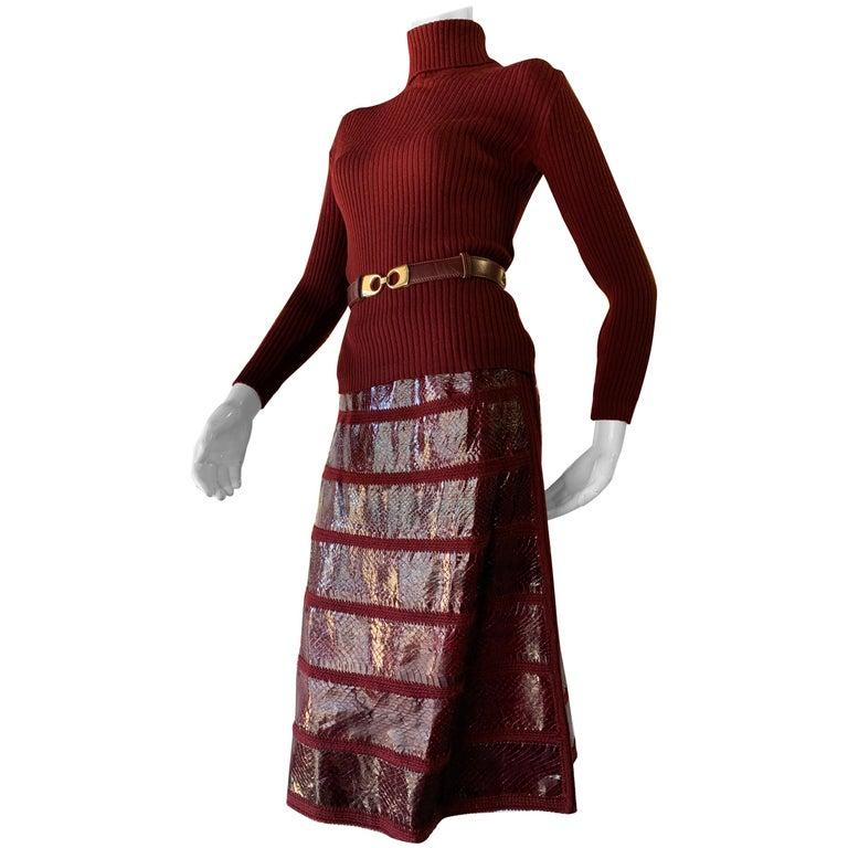 1960s J. Tiktinr 2-Piece Knit Turtleneck Sweater & Snakeskin Skirt In Cranberry  For Sale