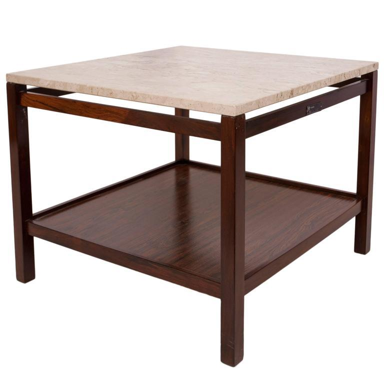 Mid-Century Modern 1960s Jacarandá Side Table with Marble Top For Sale
