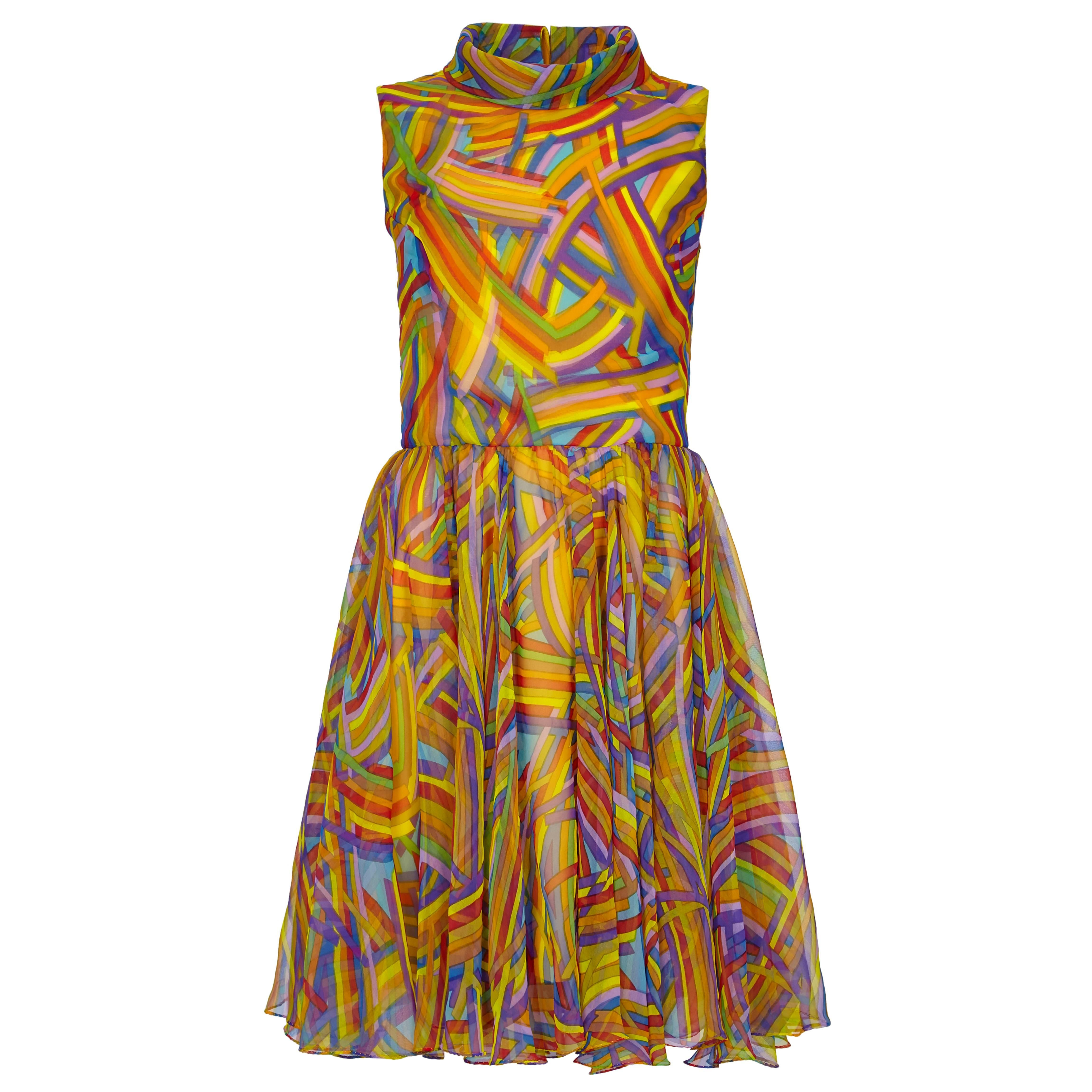 1960s Jack Bryan Multi-coloured Chiffon Dress With Roll Neck Detail