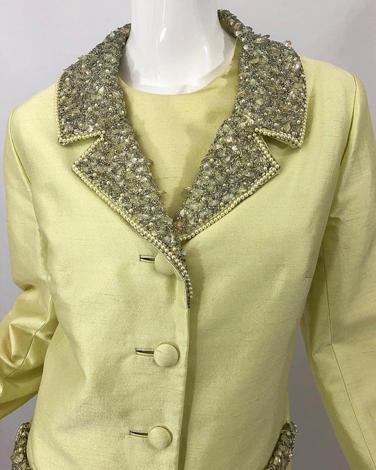 1960s Jack Bryan Yellow Silk Rhinestone Beaded 60s A-Line Dress + Jacket Suit For Sale 5