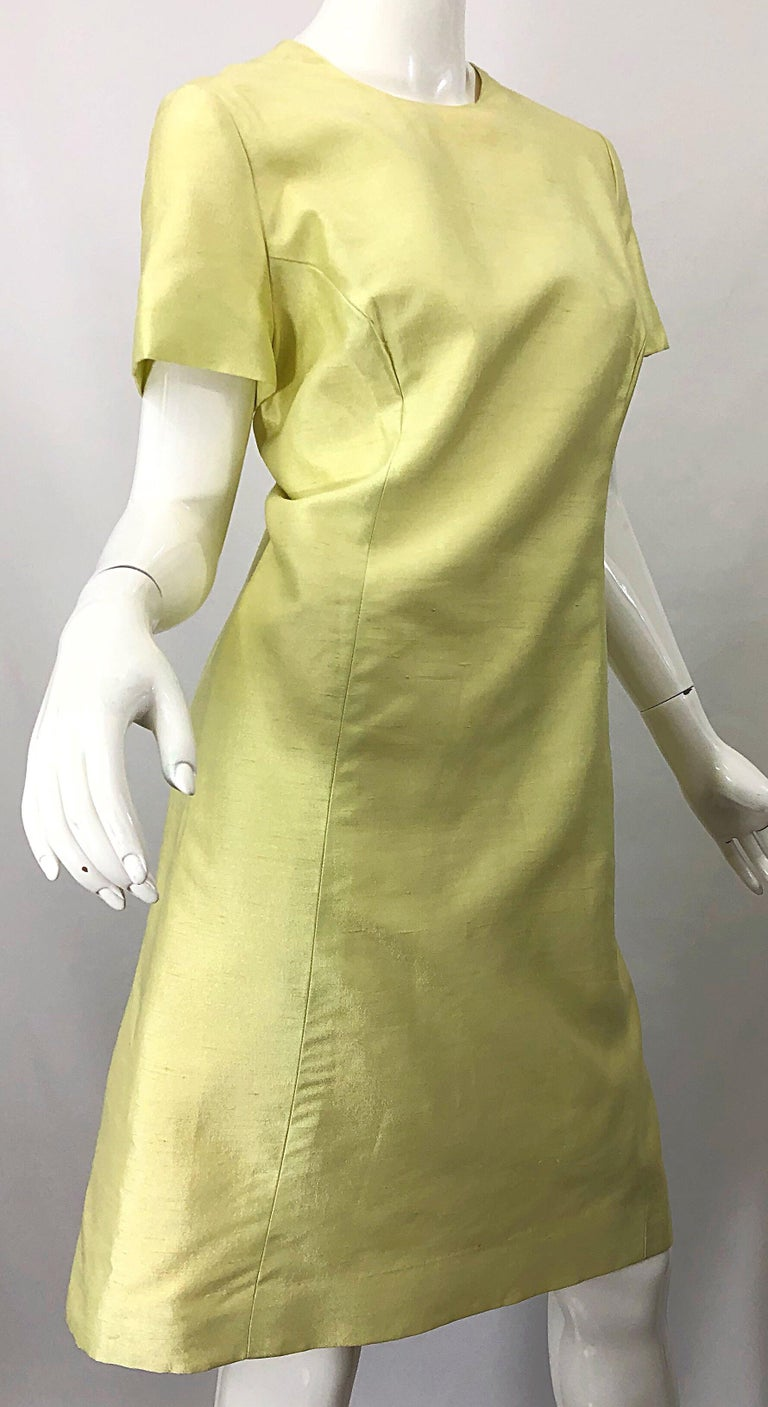 1960s Jack Bryan Yellow Silk Rhinestone Beaded 60s A-Line Dress + Jacket Suit For Sale 6