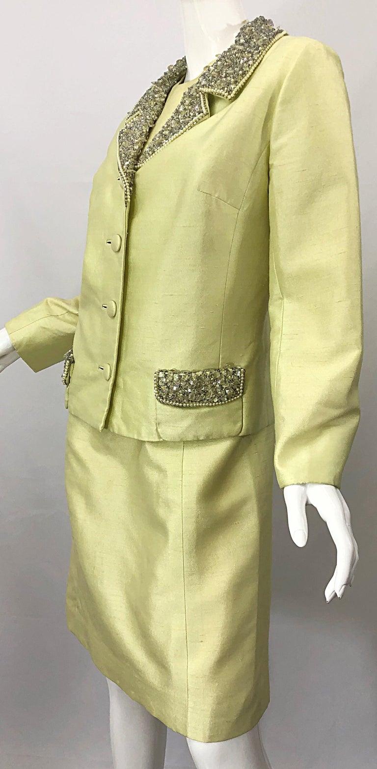1960s Jack Bryan Yellow Silk Rhinestone Beaded 60s A-Line Dress + Jacket Suit For Sale 7