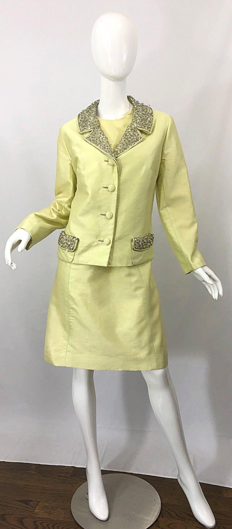 1960s Jack Bryan Yellow Silk Rhinestone Beaded 60s A-Line Dress + Jacket Suit For Sale 9