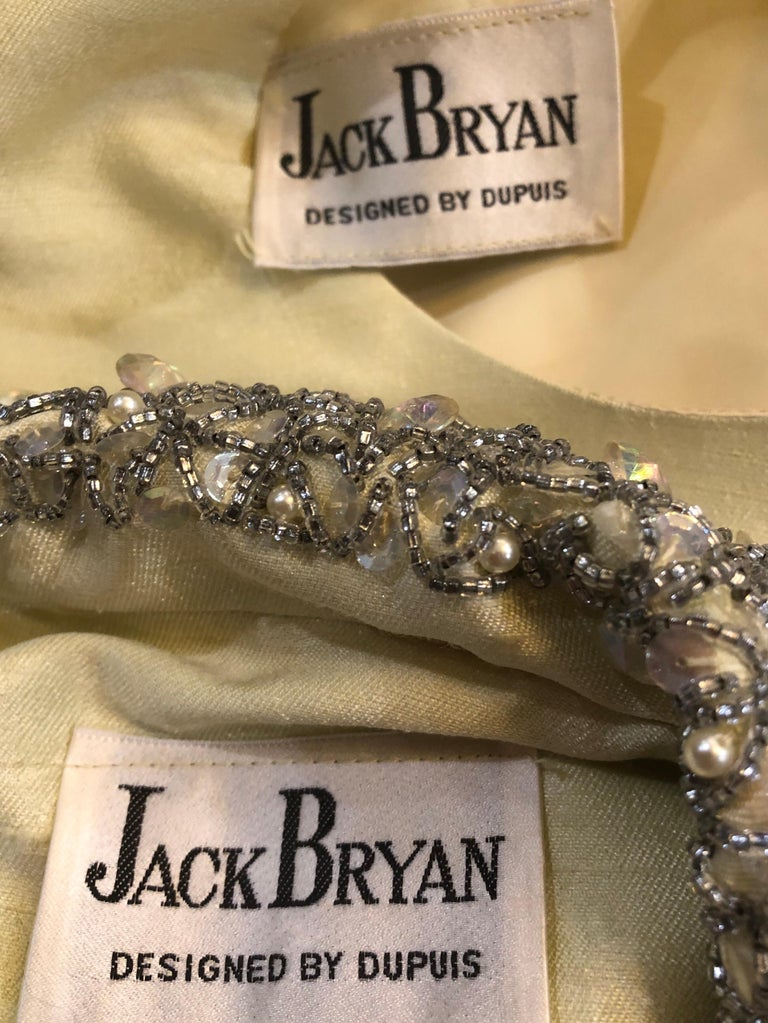1960s Jack Bryan Yellow Silk Rhinestone Beaded 60s A-Line Dress + Jacket Suit For Sale 10
