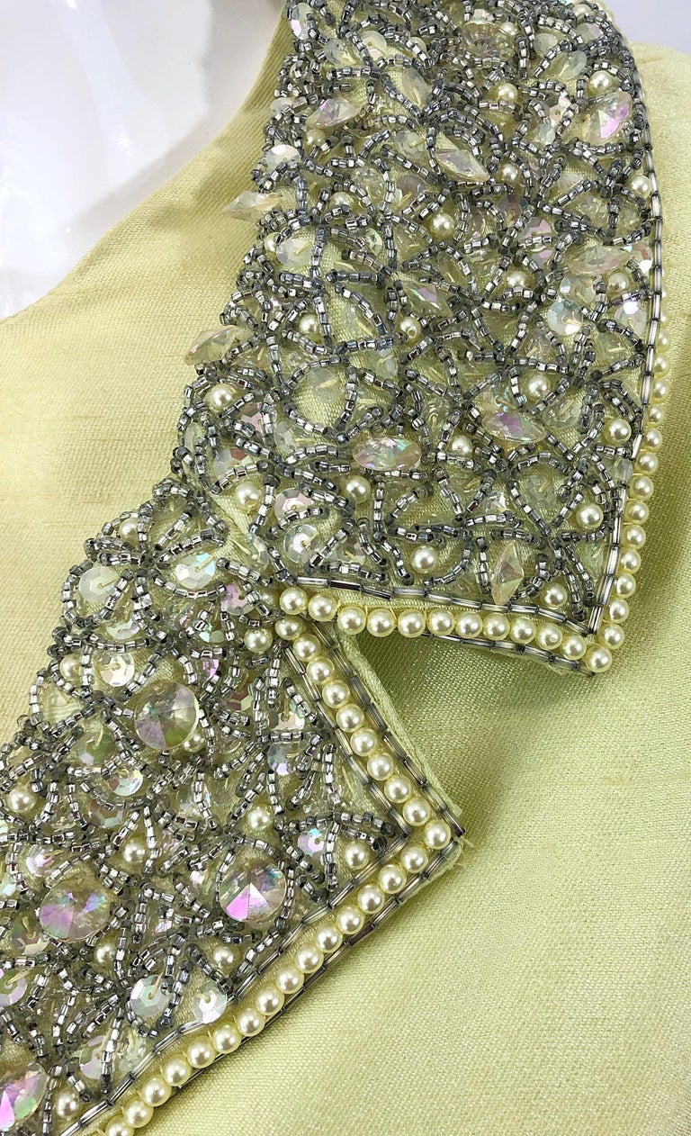 Beige 1960s Jack Bryan Yellow Silk Rhinestone Beaded 60s A-Line Dress + Jacket Suit For Sale