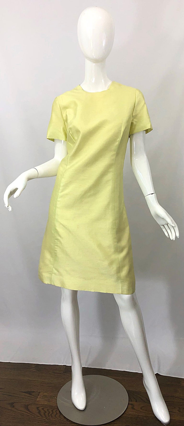 1960s Jack Bryan Yellow Silk Rhinestone Beaded 60s A-Line Dress + Jacket Suit In Excellent Condition For Sale In Chicago, IL