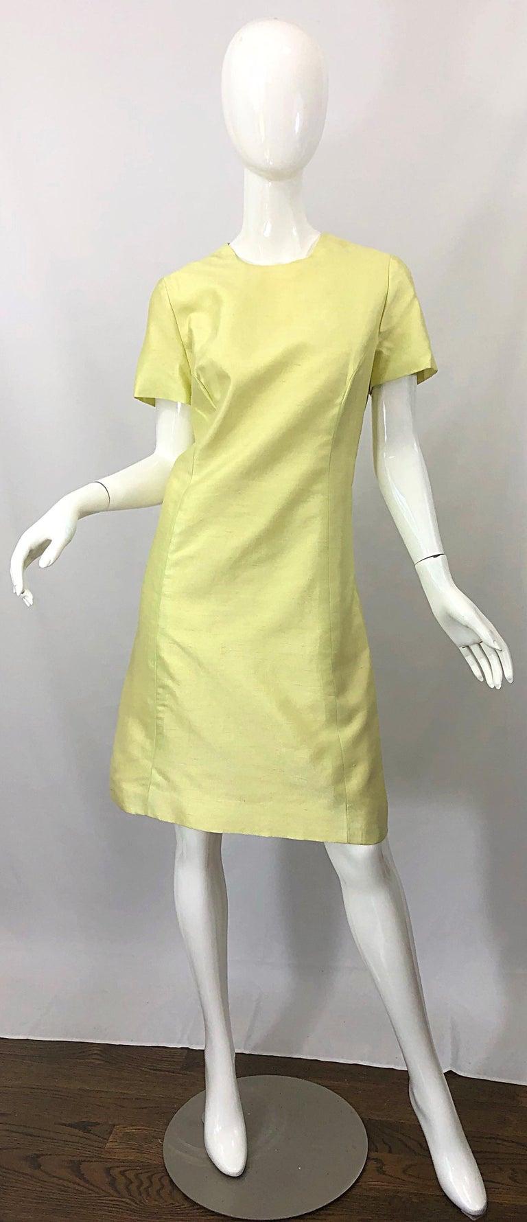 Women's 1960s Jack Bryan Yellow Silk Rhinestone Beaded 60s A-Line Dress + Jacket Suit For Sale