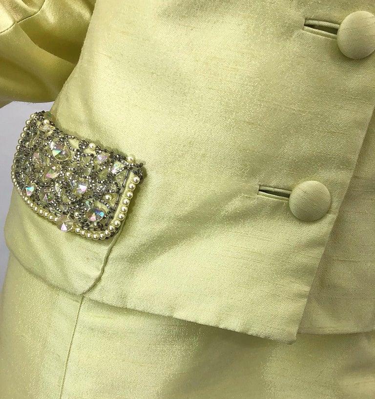 1960s Jack Bryan Yellow Silk Rhinestone Beaded 60s A-Line Dress + Jacket Suit For Sale 1