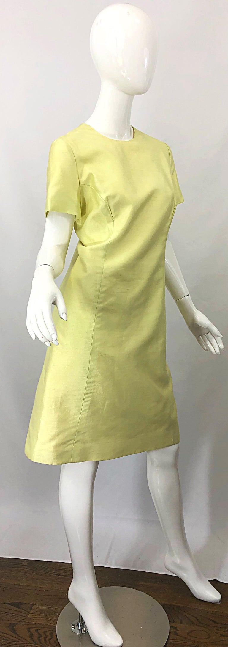 1960s Jack Bryan Yellow Silk Rhinestone Beaded 60s A-Line Dress + Jacket Suit For Sale 2