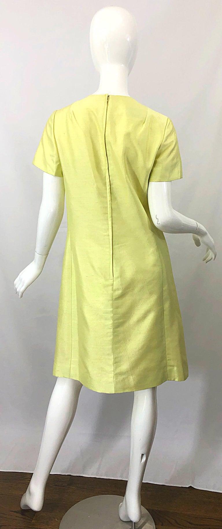 1960s Jack Bryan Yellow Silk Rhinestone Beaded 60s A-Line Dress + Jacket Suit For Sale 3