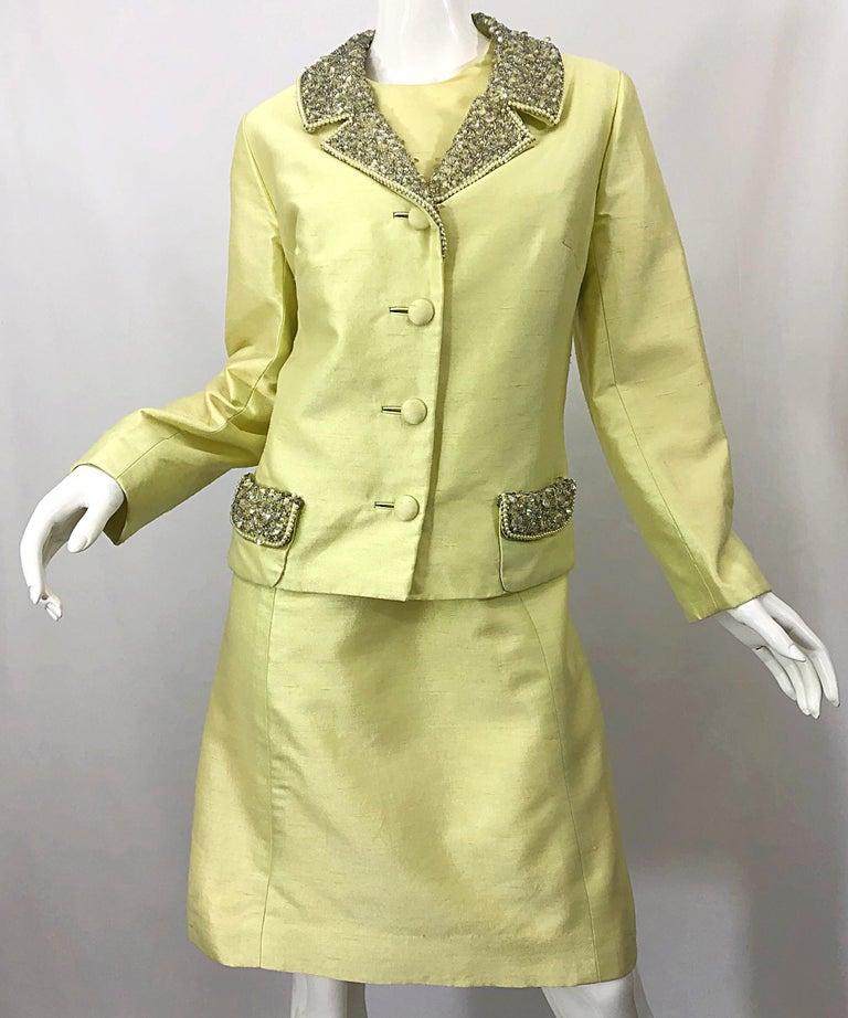 1960s Jack Bryan Yellow Silk Rhinestone Beaded 60s A-Line Dress + Jacket Suit For Sale 4