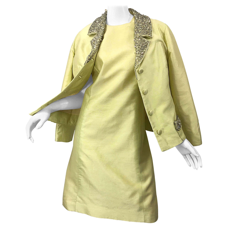 1960s Jack Bryan Yellow Silk Rhinestone Beaded 60s A-Line Dress + Jacket Suit