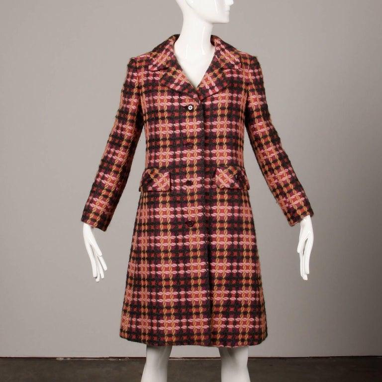 Brown 1960s Jack Feit for Nan Duskin Vintage Pink Plaid Heavy Wool Coat For Sale