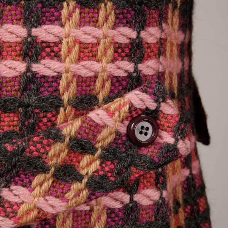 1960s Jack Feit for Nan Duskin Vintage Pink Plaid Heavy Wool Coat In Excellent Condition For Sale In Sparks, NV