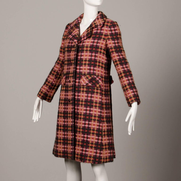 Women's 1960s Jack Feit for Nan Duskin Vintage Pink Plaid Heavy Wool Coat For Sale