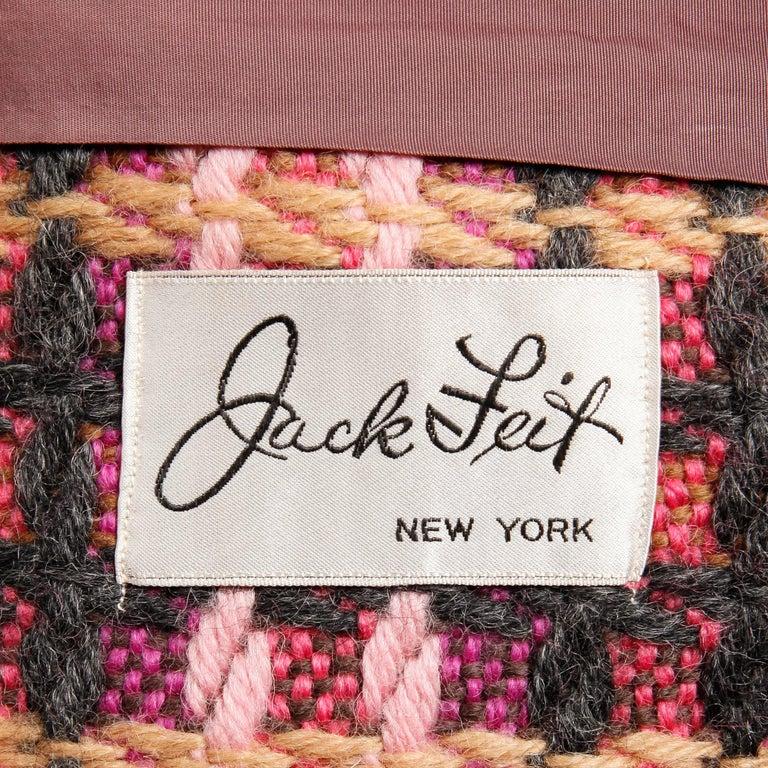 1960s Jack Feit for Nan Duskin Vintage Pink Plaid Heavy Wool Coat For Sale 1