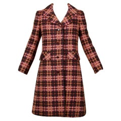 1960s Jack Feit for Nan Duskin Vintage Pink Plaid Heavy Wool Coat