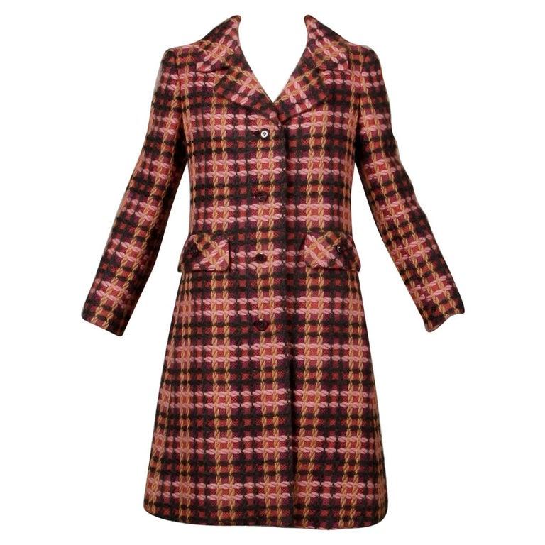 1960s Jack Feit for Nan Duskin Vintage Pink Plaid Heavy Wool Coat For Sale