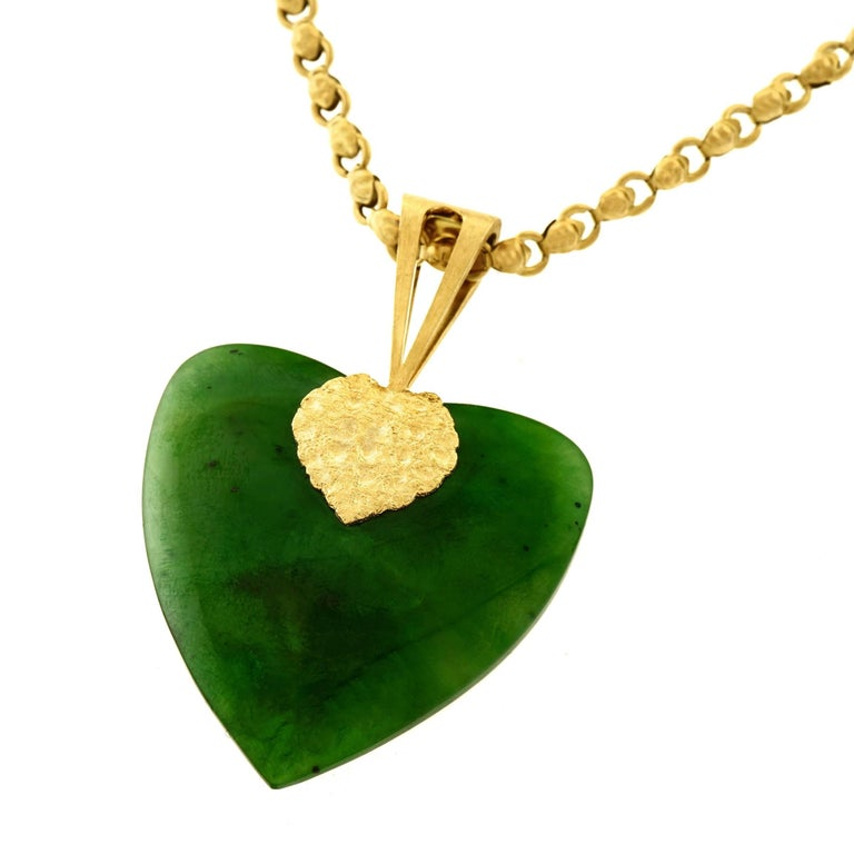 1960s Jade and Gold Heart Pendant